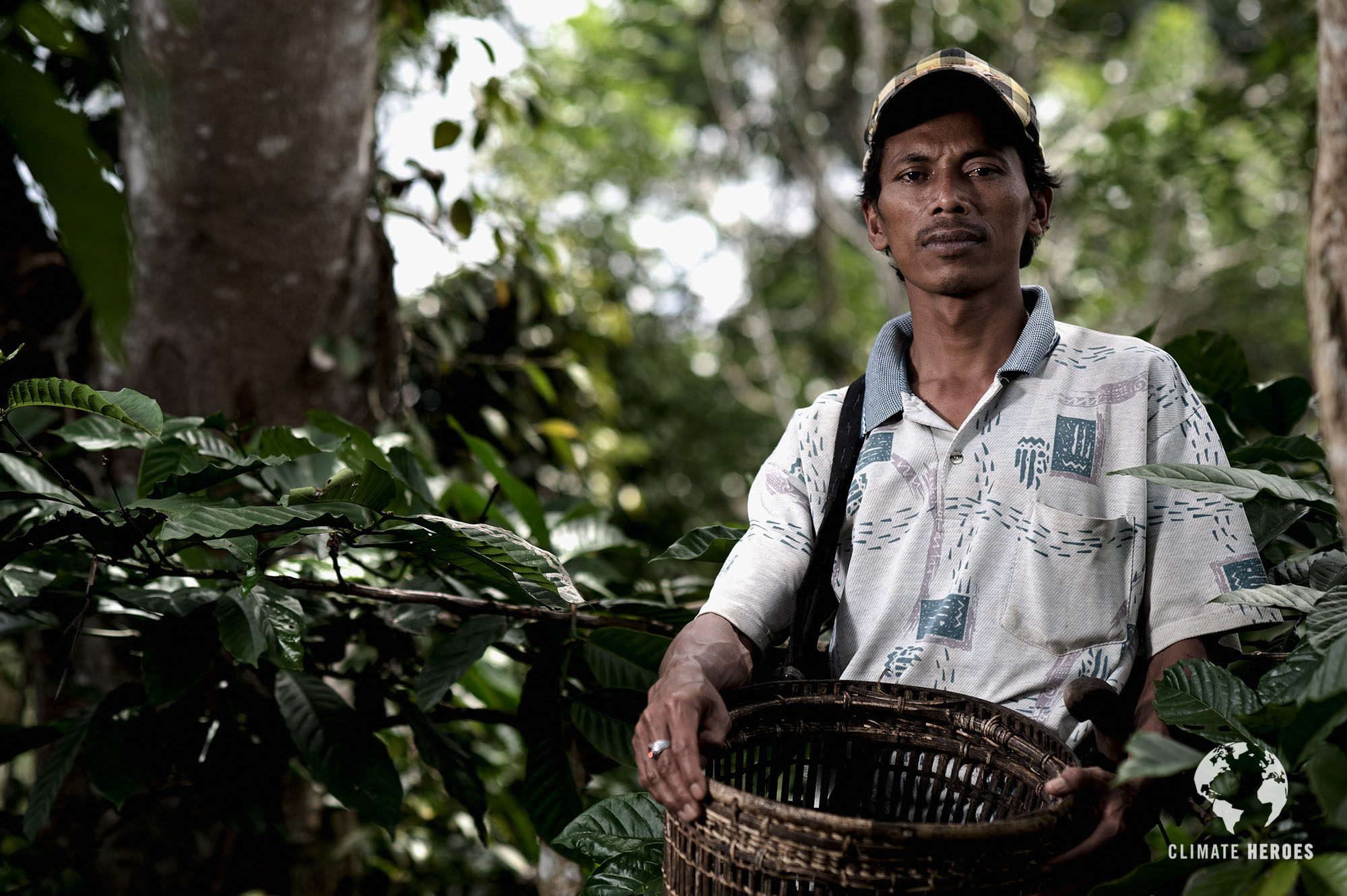 Climate Heroes project, Sumatra. Amir, 36 years old, owner of a fruit and coffee plantation
